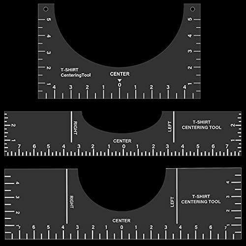 3 Stücke T-Shirt Zentrierung Ausrichtung Werkzeug PVC T-Shirt Vorlage T-Shirt Platzierung Führung Lineal Vinyl T-Shirt machen Messwerkzeug für DIY, 10 x 5 Zoll, 16 x 5 Zoll, 16 x 3 Zoll (Transparent)