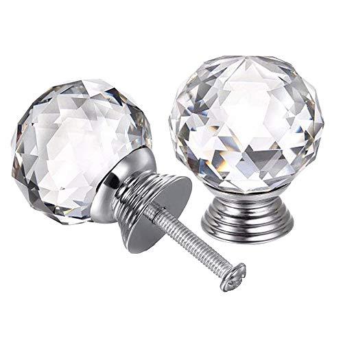 4pcs Crystal Knobs, 40mm Door Knobs Diamond Shape Design Crystal Glass...