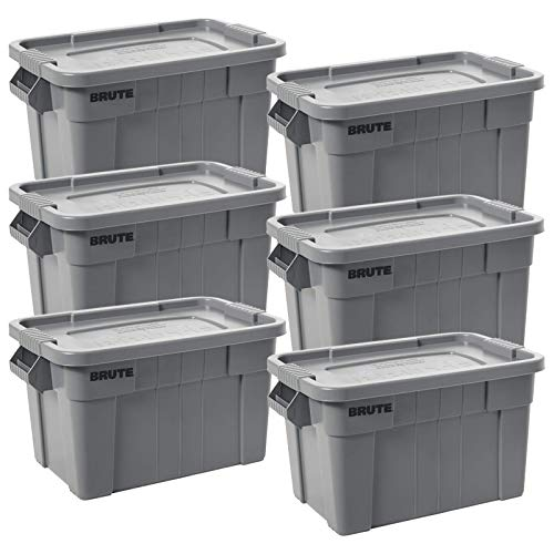 Rubbermaid Commercial Products BRUTE Tote Storage Container with Lid, 20-Gallon, Gray (FG9S3100GRAY) (Pack of 6)