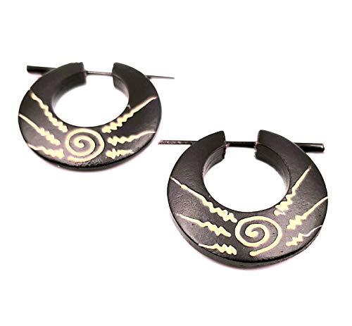 Pendiente falso dilatador de madera, diseño étnico, para expander Wood Wooden Fake en espiral