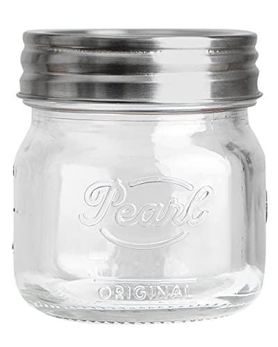 HELLO PEARL Mason Jar Luna Cap - Juego de 4 tarros con tapa, 250 ml, cierre de acero inoxidable de una pieza, sin BPA, tarros de cristal con tapa
