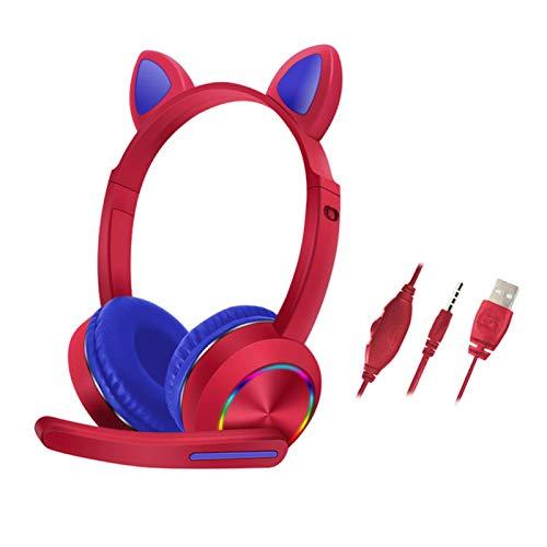 ALEOHALTER Auriculares de oreja de gato con micrófono, auriculares estéreo para juegos con iluminación LED sobre la oreja auriculares con cable para niños