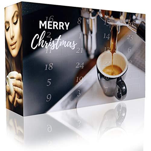 C&T Espresso-Adventskalender mit 2 x 12 vielfältigen Sorten Spitzen-Espressobohnen (Ganze Bohnen) für anspruchsvolle Heim-Barista - Weihnachts-Kalender für Erwachsene - Café Geschenkset Probier-Set
