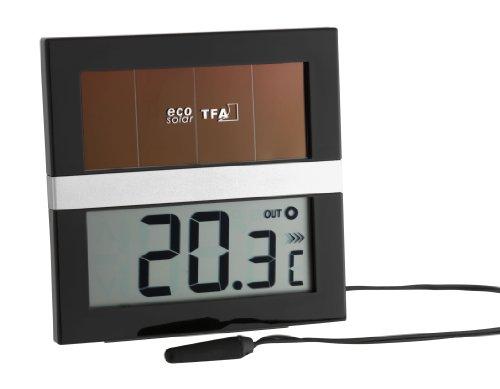 TFA Dostmann Eco Solar digitales Solar Innen-Außen-Thermometer, solarbetrieben, auch zur Überwachung von Kühlgeräten/Aquarium