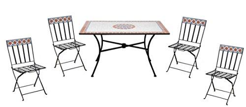 Set pranzo da giardino quattro posti con tavolo e sedie pieghevoli set pranzo per esterni con mosaico in ceramica
