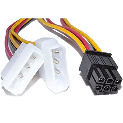 Trueway 6 Pin PCI Express Power Adapter Cable to 2 x Molex LP4 Lead
