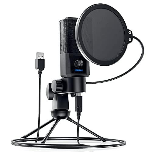 USB Mikrofon, JEEMAK Professionelles 192KHz/24Bit Computer Kondensator PC Gaming Mikrofon mit Stativständer für Podcasting, Streaming, Gesangsaufnahmen, Kompatibel mit Windows und MAC OS