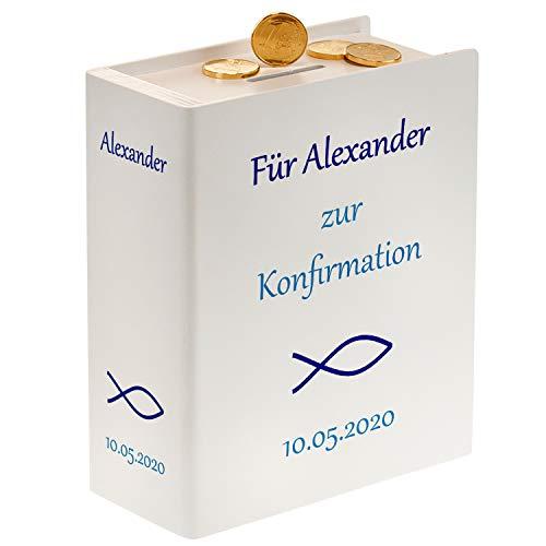 Sparbuch zur Konfirmation (weiß) – originelle Geldgeschenke verpacken– personalisiert mit Wunschtext mit Name und Datum – persönliche Konfirmationsgeschenke