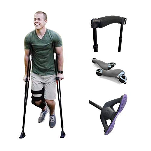 Dynamo Sport Swings Lightweight Crutches Are The Best For Recovery. Big Shock-Resistant Grippy Feet Give You Confidence & Comfort. Anti-slip Back Strap Reduces Slip-outs/Falling (5'11'-6'6')