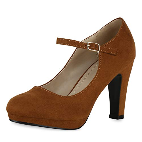 SCARPE VITA Damen Pumps Mary Janes Blockabsatz High Heels T-Strap 191547 Hellbraun 40