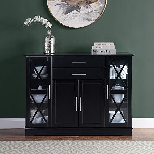 "BELLEZE Ryland 47"" Wood Storage Sideboard Buffet Cabinet Console Table, Black"