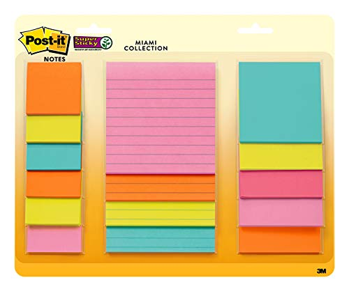 Post-it 4423-15SSMIA Super Sticky Notes,Miami Collection, Assorted Sizes, 15 Pads, Neon Colors (Orange, Pink, Blue, Green)