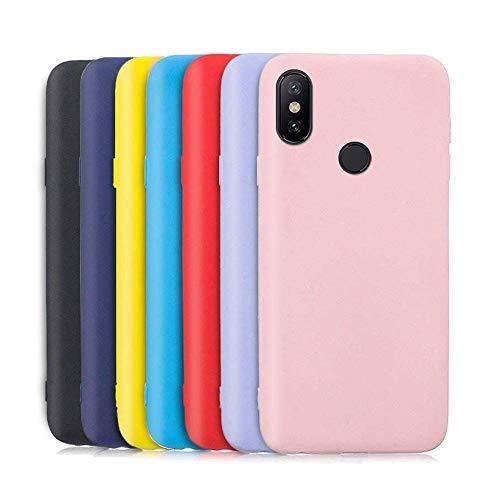 Meeter 7 x Funda para Xiaomi Mi A2 / 6X, Ultra Fina Carcasa Silicona TPU de Alta Resistencia y Flexibilidad (Negro + Rojo + Azul Oscuro + Rosa + Lavanda + Amarillo + Azul Cielo)