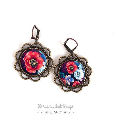Asymmetrische Cabochon-Ohrringe Große Blume, roter und blauer Mohn