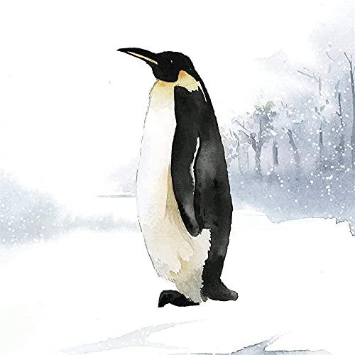 Kit de pintura al óleo / pintura por número / sin marco / pingüino juego de pintura de animales lienzo pincel de pintura al óleo para niños y estudiantes principiantes