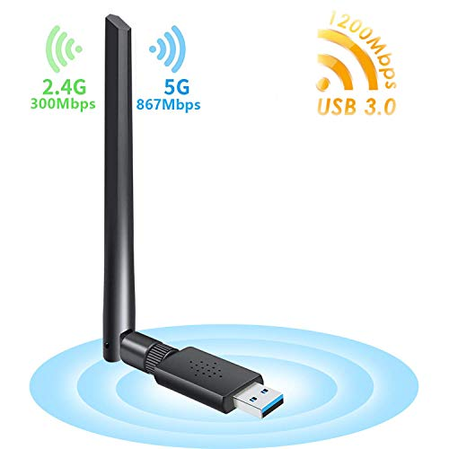 Carantee WLAN Stick WLAN Adapter PC WiFi Adapter USB 3.0 Wireless Adapter mit Thermisches Design Dualband 5 G/867Mbps+2.4G/300Mbps Antenne für Windows/Mac OS/Linux/Desktop/Laptop/Notebook