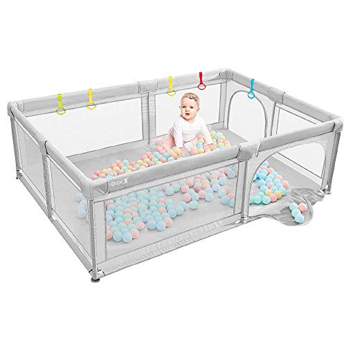 Baby Playpen Portable Kids Safety Play Center Yard Home Indoor Fence AntiFall Play Pen Playpens for Babies Extra Large Playard AntiFall Playpen Grey