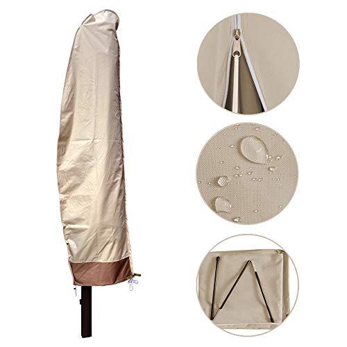 Choicehot Outdoor-Regenschirm-Abdeckung, wasserdicht, atmungsaktiv, Oxford-Gewebe, Garten-Sonnenschirm-Abdeckung, mit Reißverschluss, passend für 2,1 m bis 3,3 m Regenschirm, Beige