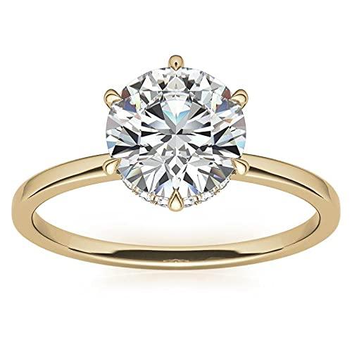 Customize Jewels Anillo de compromiso de moissanita redondo de 6 puntas de 1 quilate con cuello redondo de diamantes en oro rosa amarillo blanco de 14 quilates, VVS1