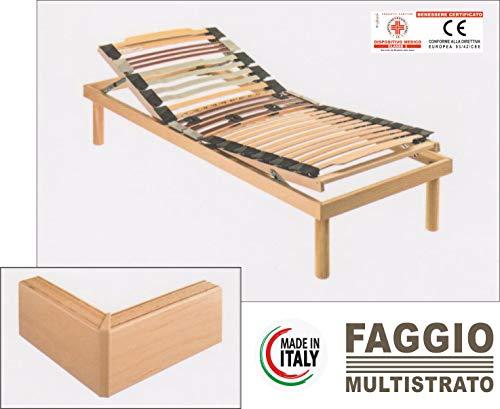 Evodreams bedframe voor Zweden met hoofd, frame en lattenbodem van beuken, meerlaags, orthopedisch frame van meerlaags beukenhout, gemaakt in Italië 80 x 190