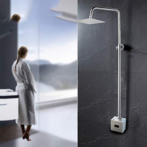 TLLZYBN Duschset, Badezimmer Automatische Dusche Set Infrarot Dusche Hände Berührungslose Freie Wasserhahn Sensor TapInduktive Elektrische Dusche Wasserhahn Mixer Set, quadratische Dusche Set
