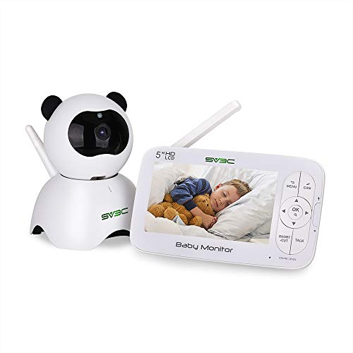 """Baby Monitor,SV3C 720P Video Baby Monitor with Camera and Audio, 5"""" LCD HD Screen Night Vision, Pan/Tilt/Zoom Camera,Two-Way-Talk,Temperature Monitor,Sound Detection,Lullabies,Range up to 900ft"""
