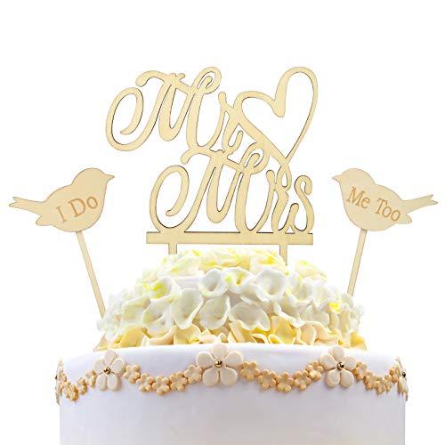 3tlg Mr & Mrs Cake Toppers Set KAKOO Vintage Holz Herr Frau Tortenstecker mit Love Birds I Do & Me Too Tortentopper Tortenaufsatz Hochzeitsgeschenk Hochzeit Jahrestag Torte Kuchen dekoration