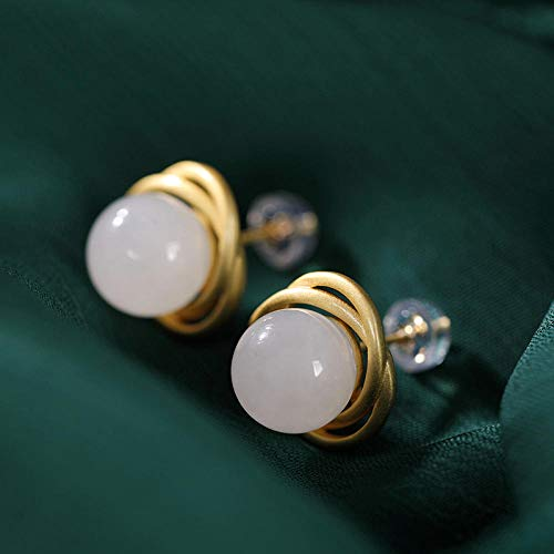 LYNLYN Pendientes de Plata S925 Sterling Silver Gold Chapado enlaid Natural y Tian Yu Yu Blanco Jade...