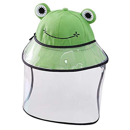 PRETYZOOM Kinderschutz Gesichtsschutz Hut Frosch Anti Spucken Gesichtshut Staubdichte Sicherheit Gesichtsschutz Fischerkappe für Kinder mit Abdeckung (Grün)