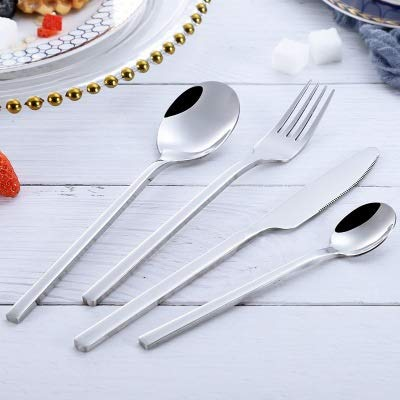 XKMY Juego de cuchillos y tenedores, cubiertos occidentales dorados, 4 piezas, estilo espejo, cuchillo, tenedor, cuchara de té, vajilla de acero inoxidable, juego de vajilla Dropship (color plata)