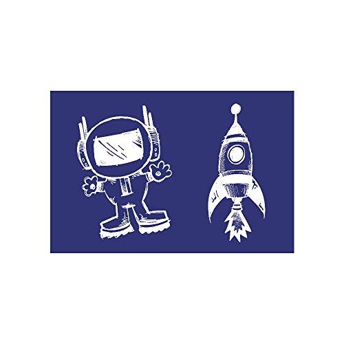 Rayher Schablone, Astronaut Plus Rakete, DIN A5, Gummi, Blau, 26 x 16,10 x 0,2 cm