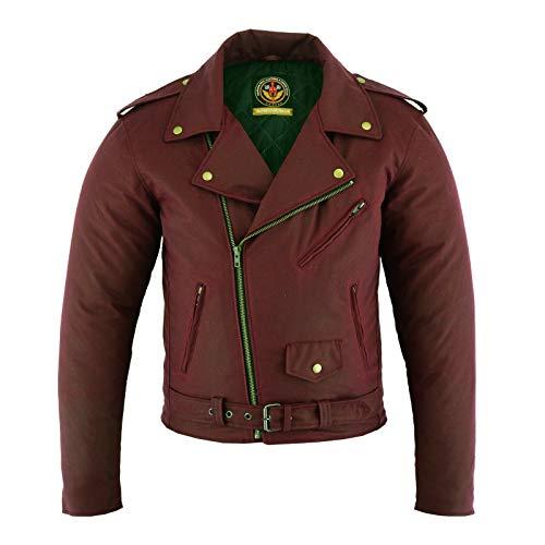 warrior gears- Chaqueta de motocicleta de algodón encerado estilo Brando clásico para hombre, forro impermeable | Chaqueta de motorista blindada CE (rojo ox-Blood rojo, 9XL)
