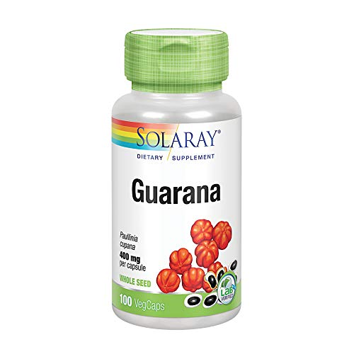 Solaray Guarana 800mg | Caffeine Supplement | Healthy Energy, Focus, Memory & Metabolism Support | 50 Serv | 100 VegCaps