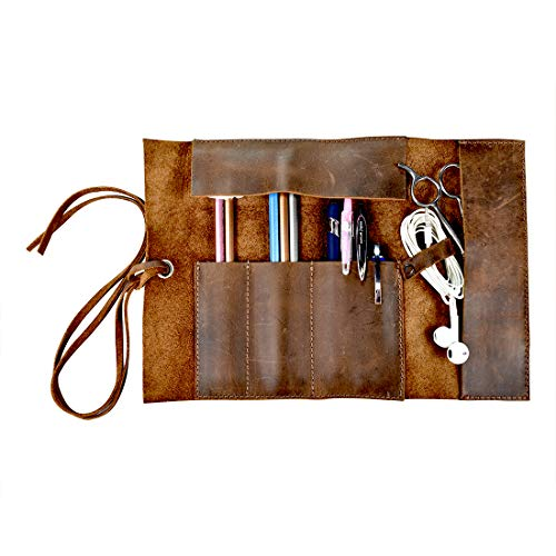 Hide & Drink, Rustic Leather Pencil Roll Pouch, Multi Purpose Storage Wrap for Scissors, Earphones, Organizer for Craft, Work, Study, Handmade Includes 101 Year Warranty :: Bourbon Brown