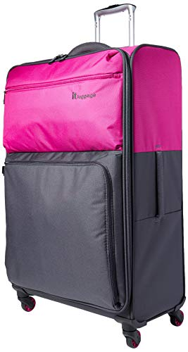 it luggage Duotone 4 Wheel Lightweight Large Suitcase, 78 cm, 86 L, Fuchsia Red + Magnet