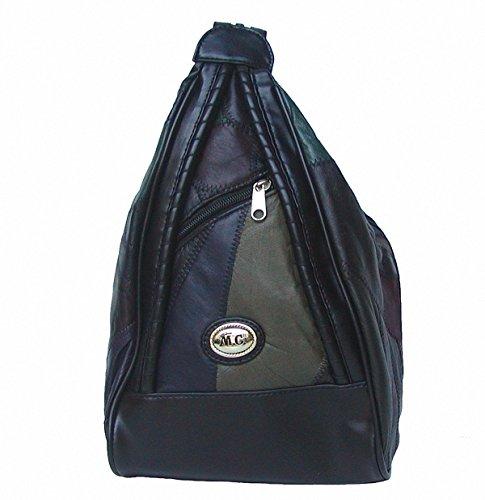 Marc Chantal Damen Rucksack schwarz/bunt, Leder im Patchwork-Style, 1 RV-Hauptfach, 3 RV-Außenfächer, 21x30x11 cm