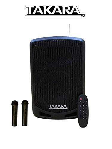 Takara T-7106 a Karaoke Speaker 6.5 Inch Portable Multimedia Bluetooth , with Recording, USB, PA System with 2 Wireless Mic, FM.
