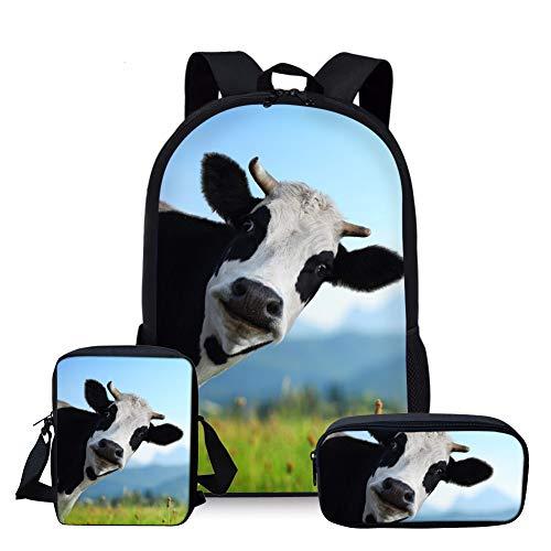 Nopersonality Schulrucksack Mädchen Polyester Rucksack Jugendliche Schul Schulranzen/Schultasche 3 in 1 Cute Kuh Cow Animal (Blau)