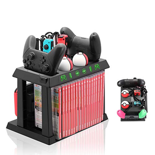 Charger Dock for Nintendo Switch, Charger for Switch Controllers, Poke Ball Plus Controllers, Storage Stand for Switch Game Cases