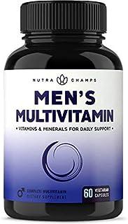 Men's Daily Multivitamin Supplement - Vegan Capsules with Biotin, Vitamins A B C D E K, Calcium, Zinc, Lutein, Magnesium, ...
