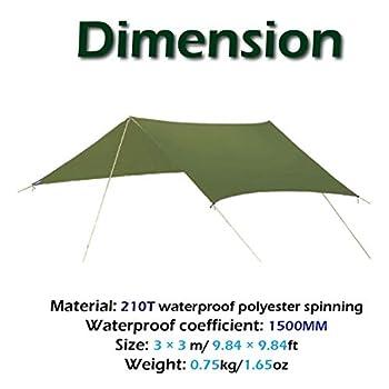 Azarxis Bâche de Tente Anti Pluie 3 x 3 m Tarp Rain Fly Imperméable Tapis de Sol Parasol Abri de Randonnée Pliable Anti UV pour Extérieur Camping Trekking (Noir)