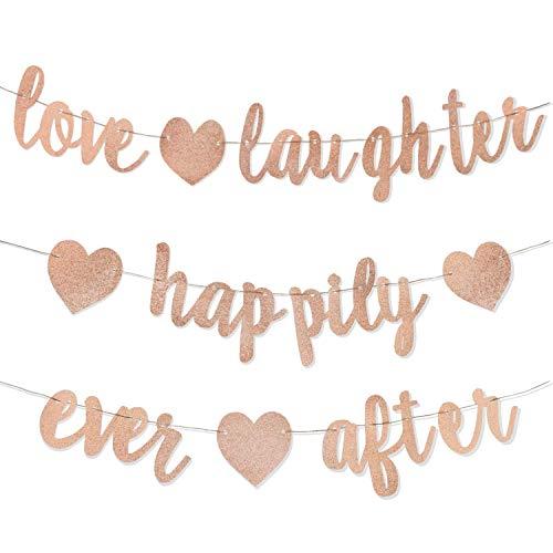 3Pcs Rose Gold Glitter Love Laughte…