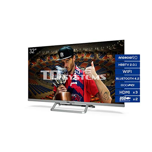 TD Systems K32DLX11HS - Televisor Smart TV 32 Pulgadas Android 9.0 y HBBTV, 800 PCI Hz, 3X HDMI, 2X USB. DVB-T2/C/S2, Modo Hotel. Televisiones