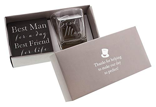 Haysom Interiors Best Man Whiskey Glass and Coaster Gift Set Thoughtful Gift Idea