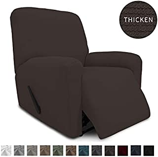 Easy-Going Thickened Recliner Stretch Slipcover, Sofa Cover, Furniture Protector with Elastic Bottom, 4 Pieces Couch Shield, Sturdy Fabric Slipcover, for Pets,Kids,Children,Dog (Recliner,Chocolate)