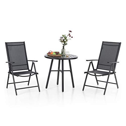 MFSTUDIO 3 Piece Metal Patio Dining Set,Outdoor Bistro Furniture with1 x Round Wrought Iron Table and 2 x Folding Sling Chairs with 7 Levels Adjustable for Garden, Pool, Backyard (Black)