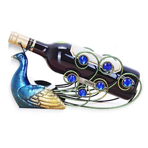 LNNA Comptoir en métal Casier à vin Porte-bouteille de vin unique, Décor à la maison créatif, Debout libre, Paon Bleu, 12 × 7 pouces