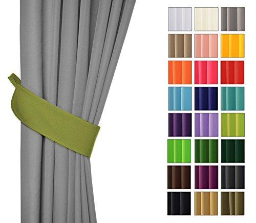 Rollmayer Vorhänge mit Bleistift Kollektion Vivid (Olivgrün 22, nur Drapierung) Blickdicht Uni einfarbig Gardinen Schal für Schlafzimmer Kinderzimmer Wohnzimmer