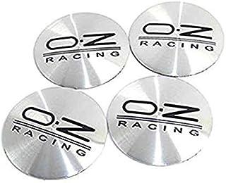okk90909o sticker 4X 56mm OZ zilver/zwart naafdoppen 3D sticker logo