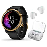 Garmin Venu GPS Smartwatch with AMOLED Display and Wearable4U Ultimate White Earbuds with Charging Power Bank Case Bundle